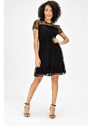 Jument Şifon Astarlı Bohem Capri Kol Elbise - Siyah Siyah